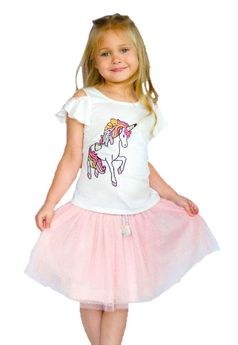 Baby Sara Adorable Unicorn Infant Toddler Little Girls Top Tee