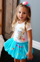"Baby Sara Blue Tutu Skirt Baby & Toddler ""Gumballs"" Dress  24m"