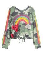 Baby Sara Camo Rainbow Little Girls Sweater 4-6x