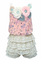 Baby Sara Ivory lace Ruffle Infant Toddler Romper 24m
