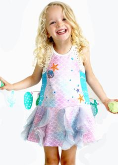 Baby Sara Mermaid Ruffles Girls Dress  6x