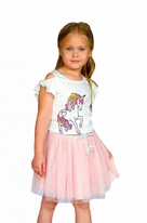 Baby Sara Darling Pink & Gold Tutu Skirt w/Braided Bow