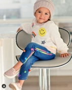 Baby Sara Denim Leggings w/RainbowStripes & Poms *Top Seller*