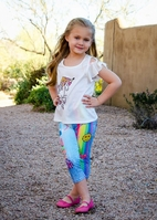 Baby Sara Sublimated Super Cute Rainbow Girls Capris Leggings