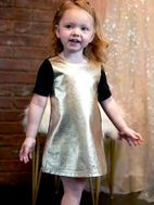 Baby Sara Gold & Black Faux Leather Girls Dress 2t - 5