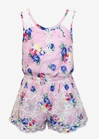 Baby Sara Pink Floral Embr Lace Trim Romper Toddler 4t