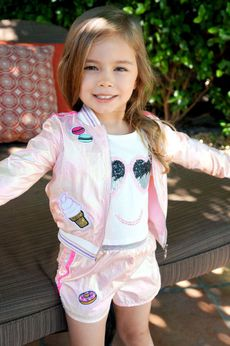 Baby Sara Pink Iridescent Sweet Patches Little Girls Bomber 4 5