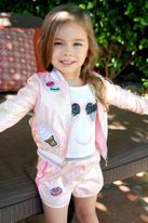 Baby Sara Pink Iridescent Sweet Patches Little Girls Bomber