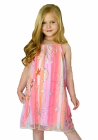Baby Sara Pink Tulle Dress w/Sequin Shooting Stars & Unicorns
