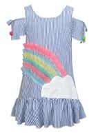 Baby Sara Rainbow Ruffles Cold Shoulder Girls Dress
