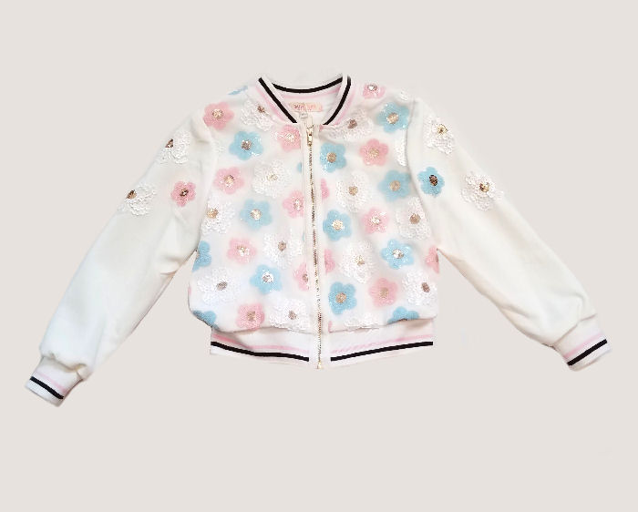 825e90158d6c Baby Sara Sequined Flowers Ivory Girls Bomber Jacket  Top Seller ...