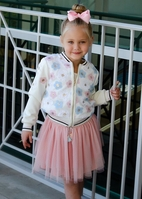 Baby Sara Sequined Flowers Ivory Girls Bomber Jacket 4T 4