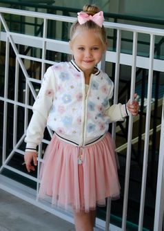 Baby Sara Sequined Flowers Ivory Girls Bomber Jacket