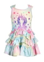 Baby Sara Unicorn Ruffles Pastel Girl's Dress Spring