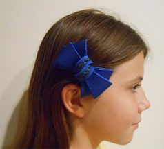 Bari Lynn Blue Structured Bow with Crystals for Big & Little Girls