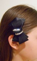 Bari Lynn Elegant  Black Girls hair Bow w/Rhinestones