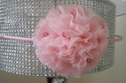 Bari Lynn Pink Tulle Flower w.Crystals on Hard headband