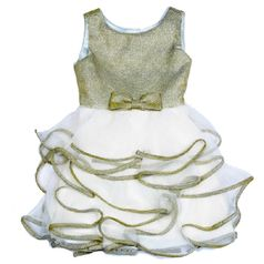 Biscotti  Gold & Ivory Tiered Ruffle Skirt Girls Easter Dress 4T 4 6x