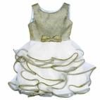 Biscotti  Gold & Ivory Tiered Ruffle Skirt Girls Dress 4T 4
