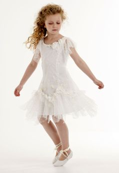 "Biscotti ""Heirloom Romance"" Ivory Tween Girls Dress 12 14"