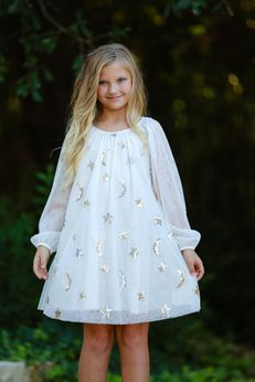 Biscotti Ivory/Silver/Gold Tulle Netting Dress w/Moon & Stars 2T