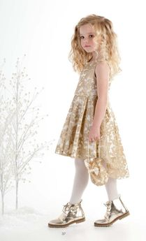 "Biscotti ""Royal Treatment"" Hi Lo Gold Lace Dress 5 Last 1"