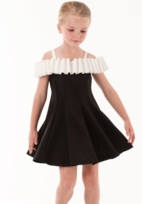 "Biscotti ""Runway Status"" Black & White Off  Shoulder Dress 14 16"