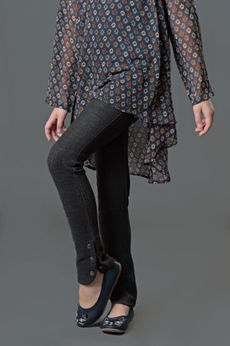 """Blu by Blu """"Funky Feathers"""" Charcoal Mix Slim Pants w/Buttons 7"""