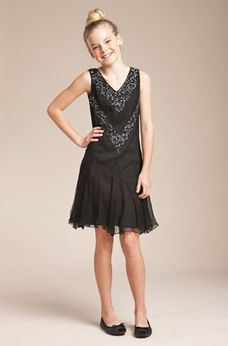 Blush by Us Angels Black Sequined Girls Dress sz 7