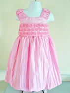 """C'Est Chouette Couture """"Pink Roses"""" Infant Girl Dress w/Rosettes  24m"""