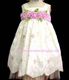 "C'Est Chouette Couture ""Spring Blossom"" Infant Party Dress w/Rosettes 3m"