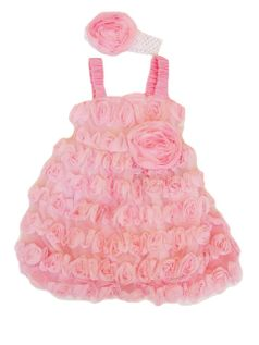Cach Cach Beautiful Buds Pink Rosettes Party Dress 4 Last 1