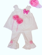Cach Cach Darling 3pc Baby girl White & Pink Outfit w/headband 12M