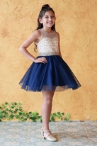 Calla Collection Navy & Gold Daddy Daughter Dance Girls Dress *Top Seller*