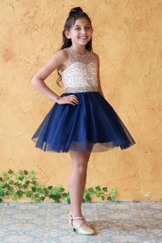 Calla Collection Navy & Beige Gold Prom Pageant Girls Dress *Top Seller*