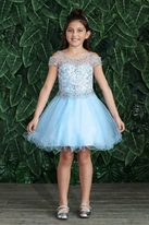 Calla Collection Cold Shoulder Blue Beaded Prom Pageant Girls Dress