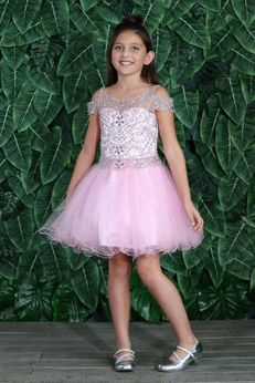 Calla Collection Pink Beaded Tulle Skirt Pageant Graduation Girls Dress