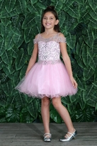 Calla Collection Pink Beaded Tulle Cold Shoulder Pageant Sweet 16 Girls Dress