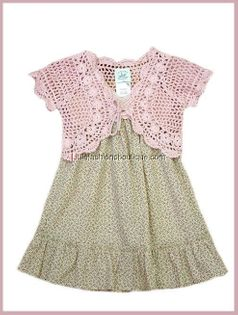 Charabia 2pc Pink Crochet Bolero & Crochet Bodice Dress 18m France