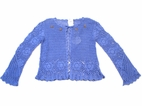 Charabia Periwinkle Blue Handmade Crochet Shrug Made in France 2 4