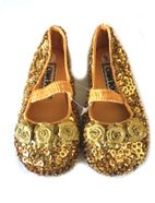China Doll Gold Sequined Ballerina Shoes w/Strap & Rosettes  2Inf 5tdlr