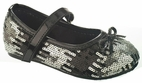 China Doll Hollywood Showtime Black & Silver Girls Shoes 6 7 8 10 12