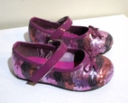 China Doll Sequin Patent Leather Plum Girls Shoes 24/8