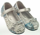 China Doll Snow Queen Silver & Blue Sequined Girls Shoes 7 8 12