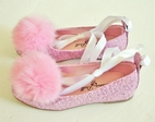 China Doll  Vanessa Sparkly pink Ankle Tie Shoes w/Puff  7tdlr