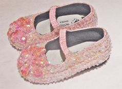 Coastal Projections Adorable Custom Light Pink Sparkly Sequined flower Shoes sz 2 infant