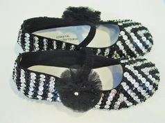 Coastal Projections Black & Silver Custom Sparkly Sequin  Shoes w/Tulle puff 0 1 2 5