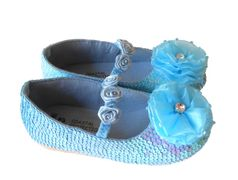 Coastal Projections Custom  Blue Sparkly Sequined  Shoes w/Organza Flower
