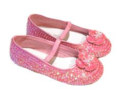 Coastal Projections Bright  Pink Sequined Flower Girls Shoes 12 1 2 3 4