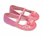 Coastal Projections Bright Pink Sequined Flower Girls Shoes  1 2 3 4 Youth